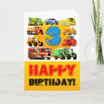 Construction Trucks Happy Boy's 3rd Birthday Card