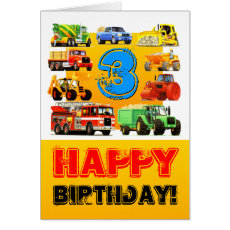 Construction Trucks Happy Boy's 3rd Birthday Card