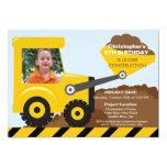Construction trucks Photo Birthday Party for boys 5x7 Paper Invitation Card