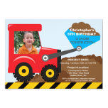 Construction trucks Photo Birthday Party for boys Personalized Announcement
