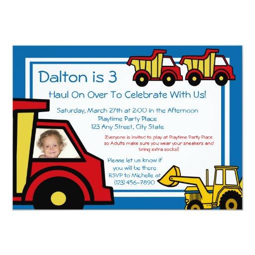 Construction Trucks/ Photo Custom Invitations