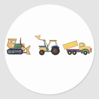 Construction Trucks Classic Round Sticker