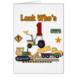 Construction Vehicles 1st Birthday Tshirts Greeting Card