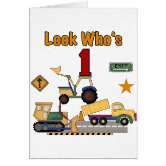 Construction Vehicles 1st Birthday Tshirts Greeting Card