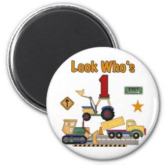 Construction Vehicles 1st Birthday Tshirts Magnet