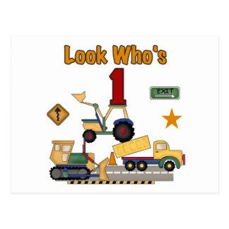 Construction Vehicles 1st Birthday Tshirts Postcard