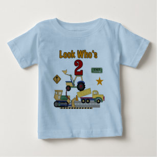Construction Vehicles 2nd Birthday Baby T Shirt