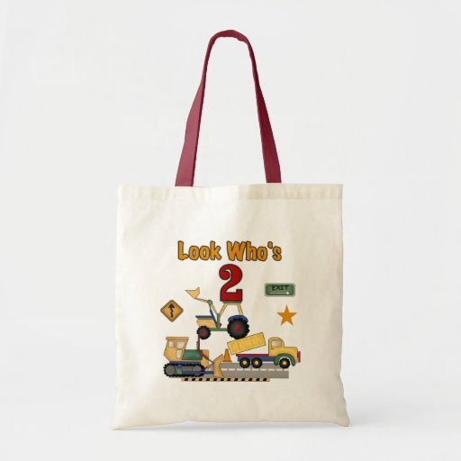 Construction Vehicles 2nd Birthday Canvas Bags