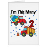 Construction Vehicles 2nd Birthday Gifts Card