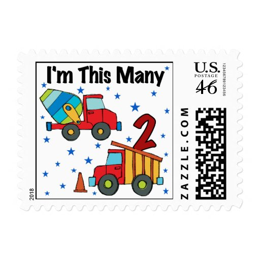 Construction Vehicles 2nd Birthday Gifts Postage Stamps