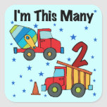 Construction Vehicles 2nd Birthday Gifts Square Stickers