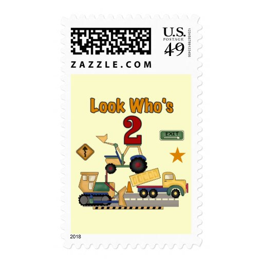 Construction Vehicles 2nd Birthday Postage