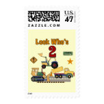 Construction Vehicles 2nd Birthday Postage Stamp