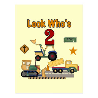 Construction Vehicles 2nd Birthday Post Card