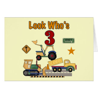Construction Vehicles 3rd Birthday Tshirts Card