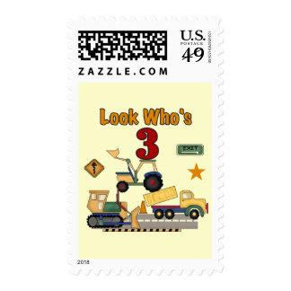Construction Vehicles 3rd Birthday Tshirts Postage Stamp