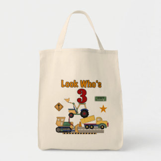 Construction Vehicles 3rd Birthday Tshirts Tote Bag