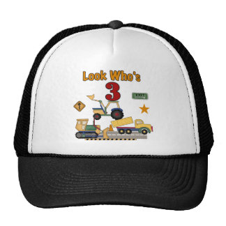Construction Vehicles 3rd Birthday Tshirts Trucker Hat