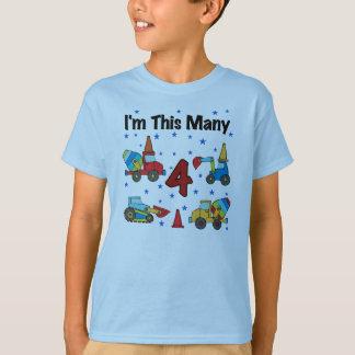 Construction Vehicles 4th Birthday T-shirts