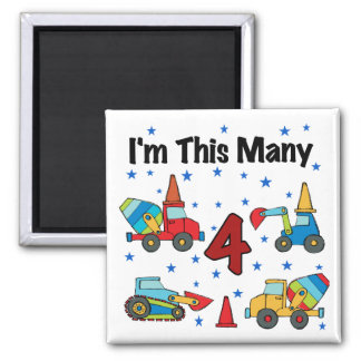 Construction Vehicles 4th Birthday T-shirts 2 Inch Square Magnet