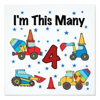Construction Vehicles 4th Birthday T-shirts 5.25x5.25 Square Paper Invitation Card