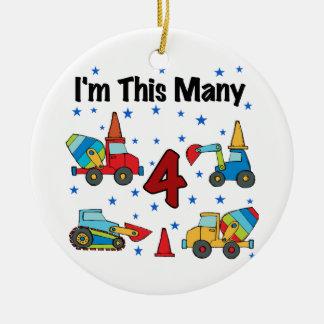 Construction Vehicles 4th Birthday T-shirts Christmas Tree Ornament