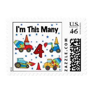 Construction Vehicles 4th Birthday T-shirts Stamp