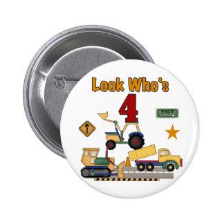 Construction Vehicles 4th Birthday Tshirts Button