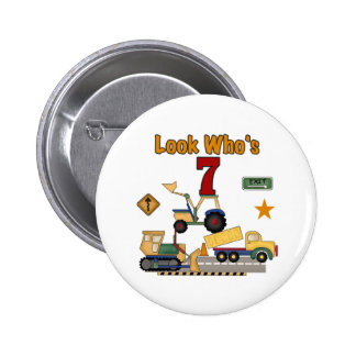 Construction Vehicles 7th Birthday Pinback Button