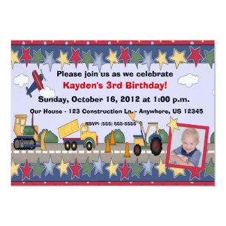 Construction vehicles  boys birthday invitation