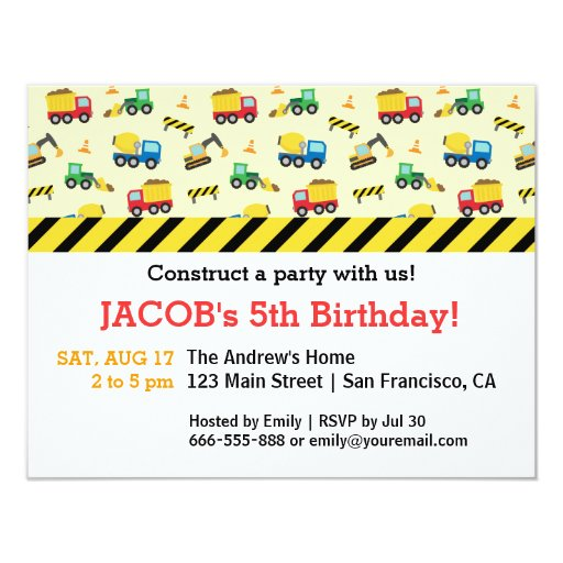 Construction Vehicles Pattern Birthday Party 4.25x5.5 Paper Invitation ...