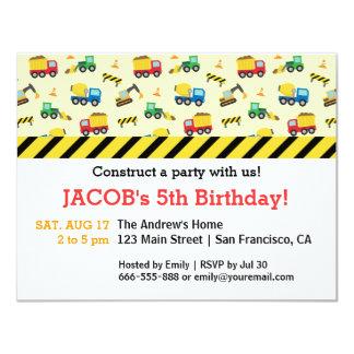 Construction Vehicles Pattern Birthday Party Custom Invites