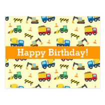 Construction Vehicles Pattern, Happy Birthday Postcard