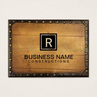 Construction Vintage Leather Wood Monogram Business Card