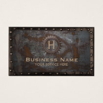 Construction Vintage Monogram Rusty Metal Business Card