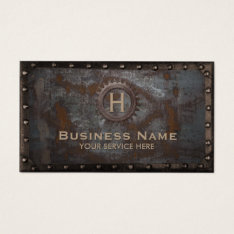 Construction Vintage Monogram Rusty Metal Business Card at Zazzle
