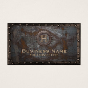 Construction business cards 4400 construction business card templates construction vintage monogram rusty metal business card wajeb Gallery