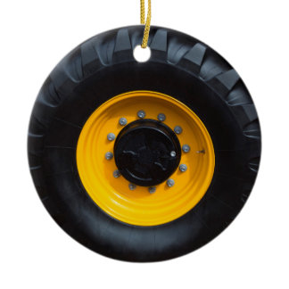 Construction Wheel Ceramic Ornament