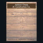 """Construction Wood Grain Letterhead<br><div class=""""desc"""">Make a great impression with this on this Personalized Construction Wood Grain Letterhead that features a Dark Brown faux Wood Grain boards background with a brown banner. Text is set up for your name and Business Information. Ideal for Construction Industry, Contractors, Construction Business, Builders and more. Choose your paper type....</div>"""
