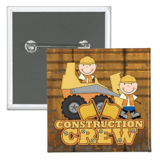 Construction Worker 2 Inch Square Button
