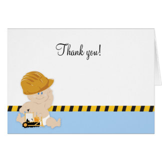 CONSTRUCTION WORKER BABY Folded Thank you notes Cards