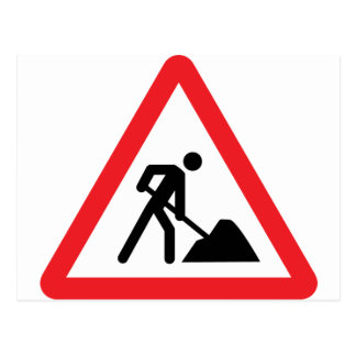 construction worker building site sign postcard