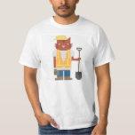 Construction Worker Cat Pixel Art Tee Shirt