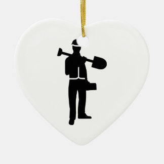 Construction worker ceramic ornament