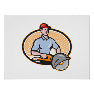 Construction Worker Concrete Saw Consaw Cartoon Poster