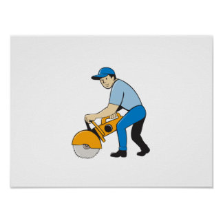 Construction Worker Concrete Saw Cutter Isolated Poster