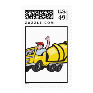 Construction Worker Driver Cement Mixer Truck Postage Stamp