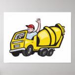 Construction Worker Driver Cement Mixer Truck Poster