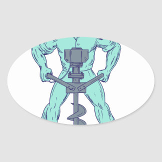 Construction Worker Earth Auger Boring Hole Drawin Oval Sticker