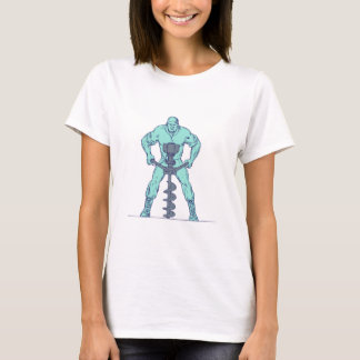 Construction Worker Earth Auger Boring Hole Drawin T-Shirt